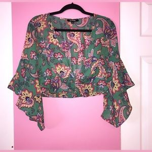 70s Green Floral Blouse